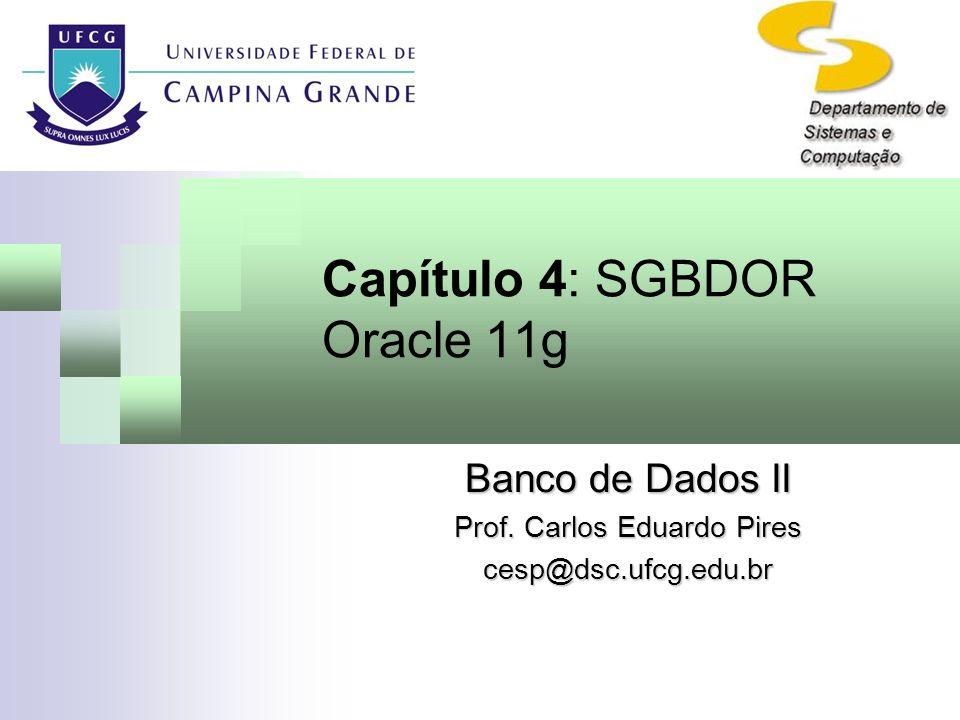 Capítulo 4: SGBDOR Oracle 11g Banco de Dados II Prof. Carlos Eduardo Pires cesp@dsc.ufcg.edu.br