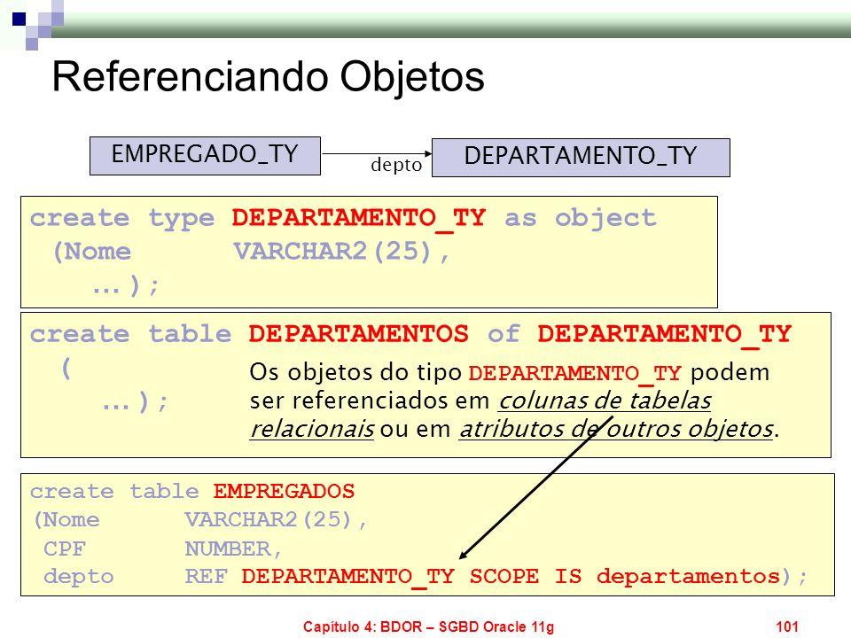 Capítulo 4: BDOR – SGBD Oracle 11g101 EMPREGADO_TY DEPARTAMENTO_TY depto create table EMPREGADOS (Nome VARCHAR2(25), CPF NUMBER, depto REF DEPARTAMENT
