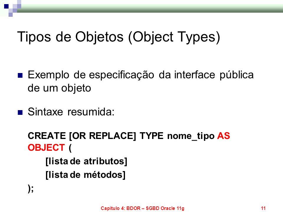 Capítulo 4: BDOR – SGBD Oracle 11g11 Tipos de Objetos (Object Types) Exemplo de especificação da interface pública de um objeto Sintaxe resumida: CREA
