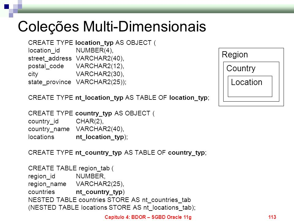 Capítulo 4: BDOR – SGBD Oracle 11g113 Coleções Multi-Dimensionais CREATE TYPE location_typ AS OBJECT ( location_id NUMBER(4), street_address VARCHAR2(
