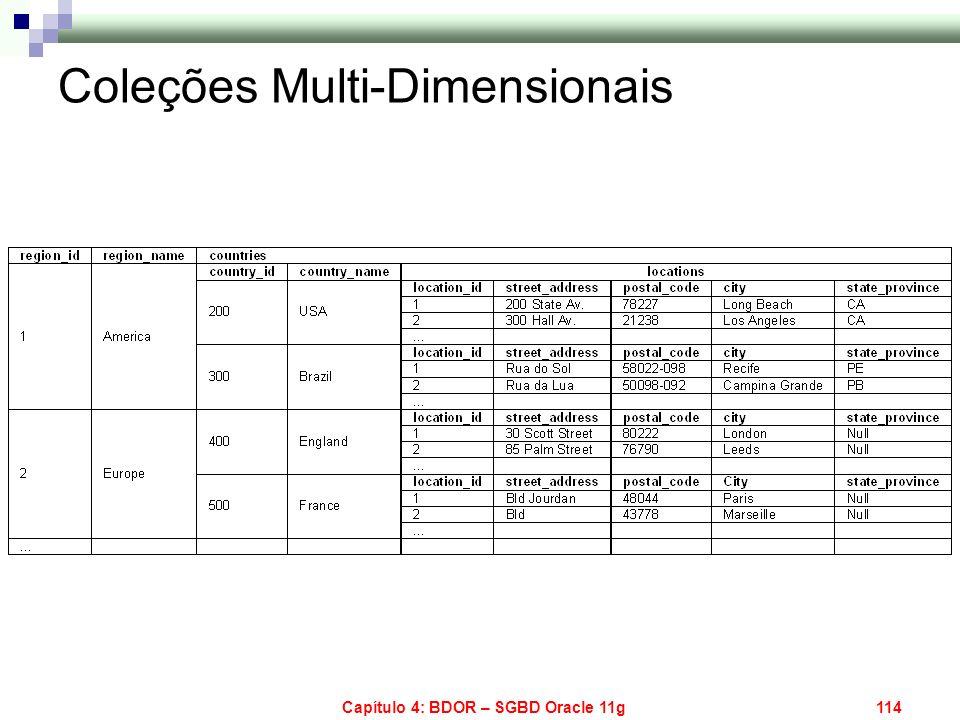 Capítulo 4: BDOR – SGBD Oracle 11g114 Coleções Multi-Dimensionais