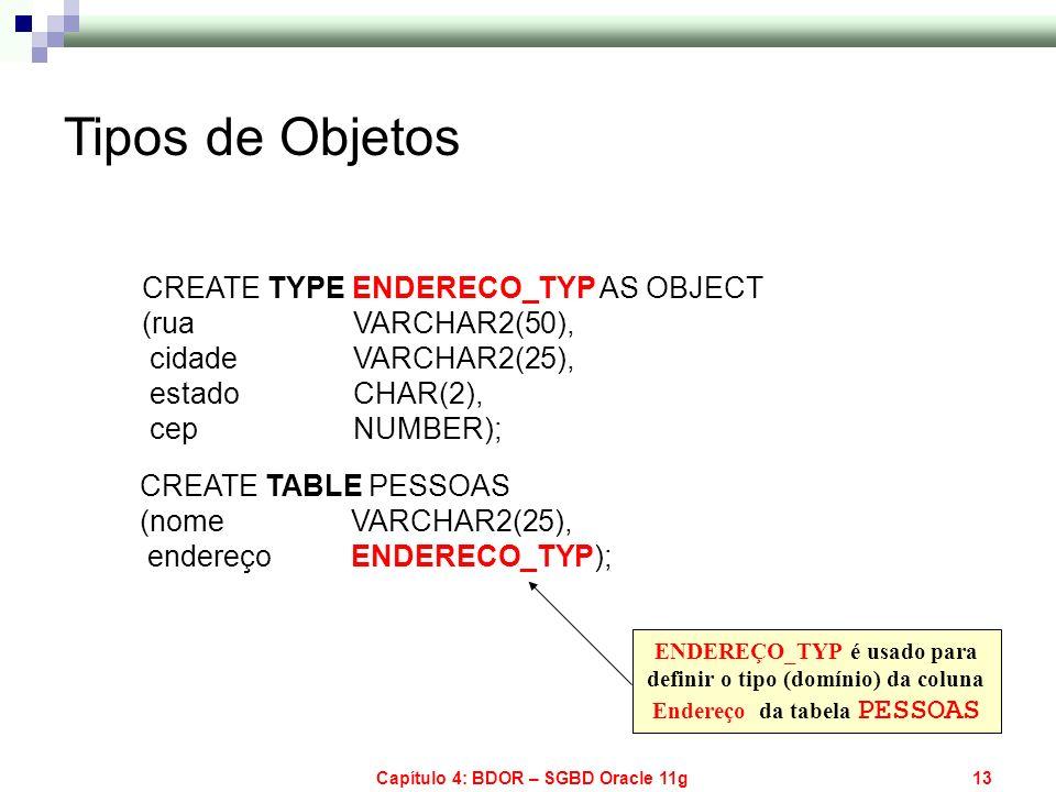 Capítulo 4: BDOR – SGBD Oracle 11g13 CREATE TYPE ENDERECO_TYP AS OBJECT (rua VARCHAR2(50), cidade VARCHAR2(25), estado CHAR(2), cep NUMBER); CREATE TA