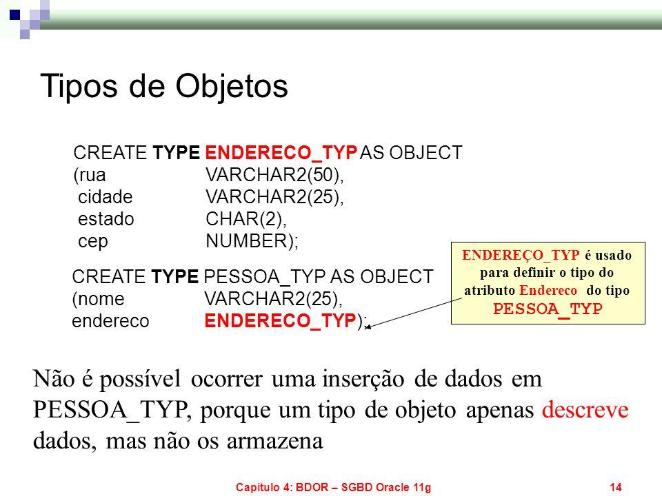 Capítulo 4: BDOR – SGBD Oracle 11g14 Não é possível ocorrer uma inserção de dados em PESSOA_TYP, porque um tipo de objeto apenas descreve dados, mas n