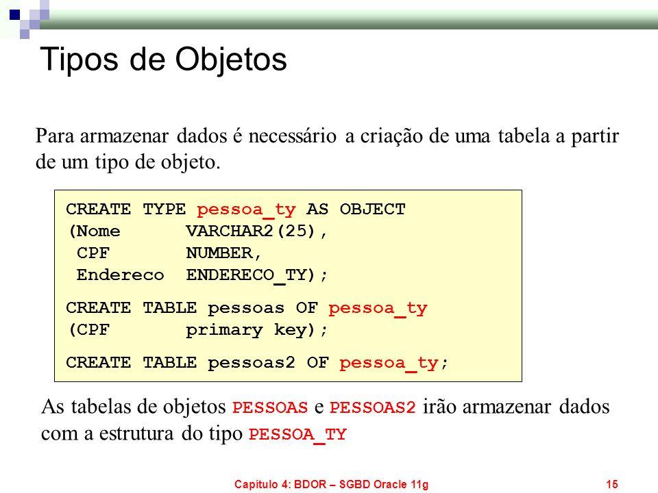 Capítulo 4: BDOR – SGBD Oracle 11g15 Para armazenar dados é necessário a criação de uma tabela a partir de um tipo de objeto. CREATE TYPE pessoa_ty AS