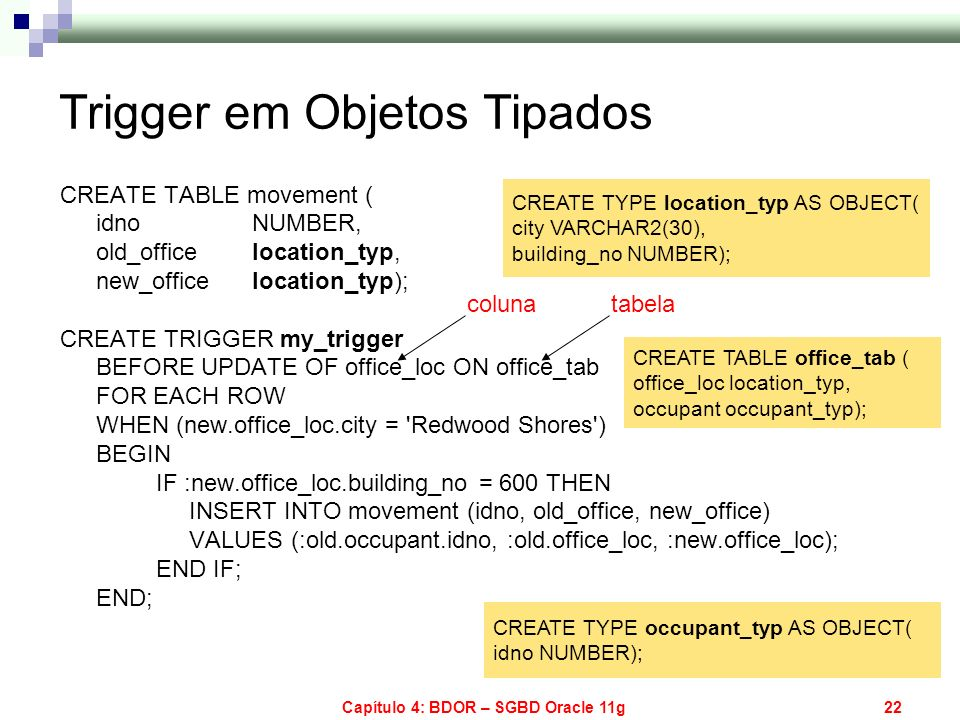 Capítulo 4: BDOR – SGBD Oracle 11g22 Trigger em Objetos Tipados CREATE TABLE movement ( idno NUMBER, old_office location_typ, new_office location_typ)