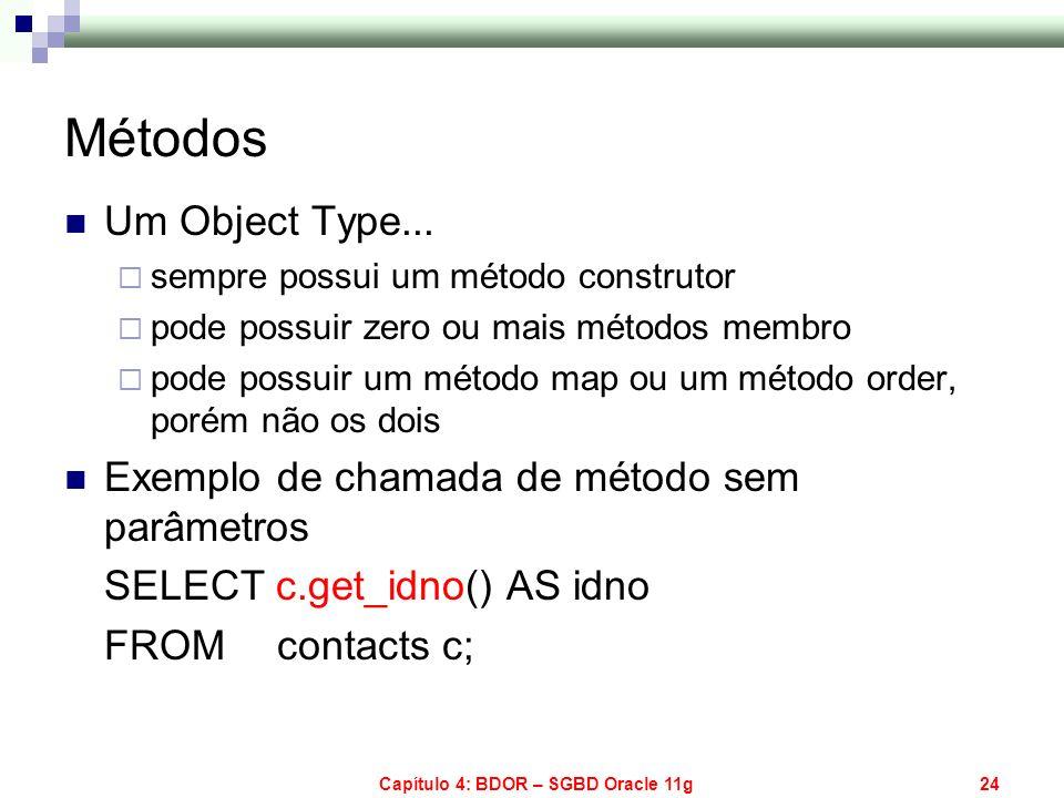 Capítulo 4: BDOR – SGBD Oracle 11g24 Métodos Um Object Type... sempre possui um método construtor pode possuir zero ou mais métodos membro pode possui