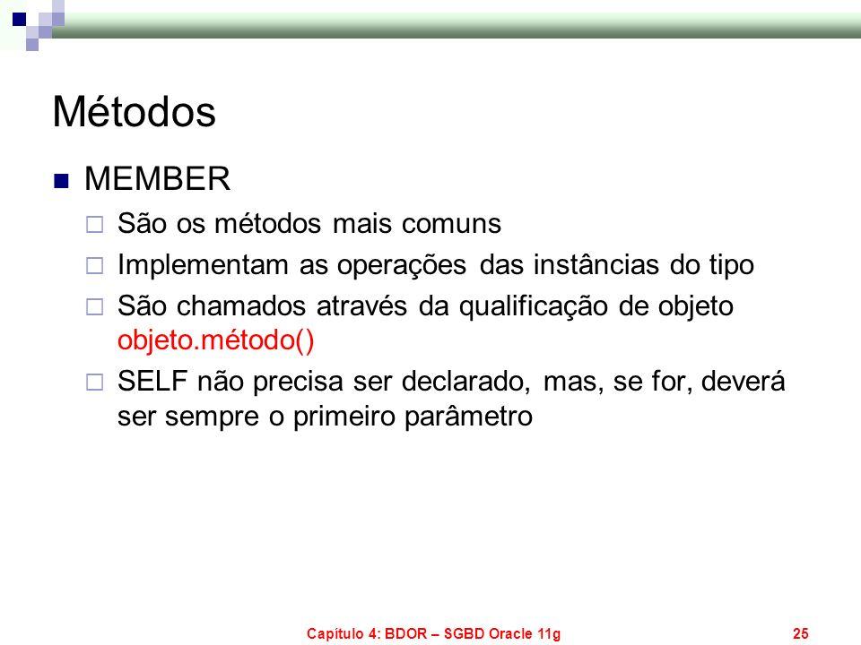 Capítulo 4: BDOR – SGBD Oracle 11g25 Métodos MEMBER São os métodos mais comuns Implementam as operações das instâncias do tipo São chamados através da