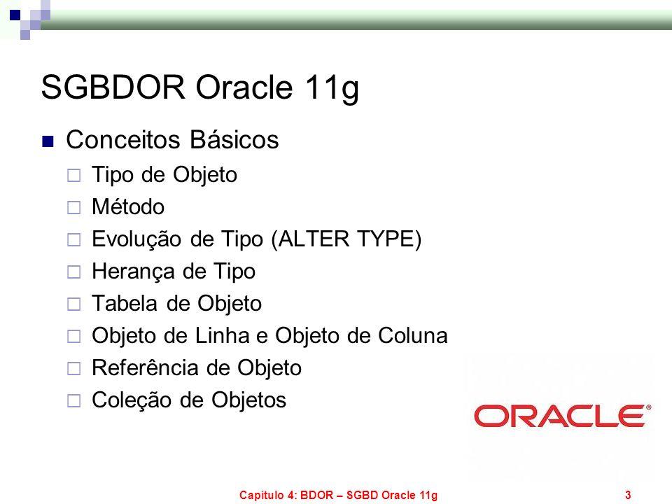 Capítulo 4: BDOR – SGBD Oracle 11g3 SGBDOR Oracle 11g Conceitos Básicos Tipo de Objeto Método Evolução de Tipo (ALTER TYPE) Herança de Tipo Tabela de
