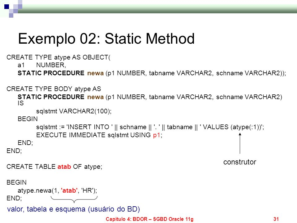 Capítulo 4: BDOR – SGBD Oracle 11g31 Exemplo 02: Static Method CREATE TYPE atype AS OBJECT( a1 NUMBER, STATIC PROCEDURE newa (p1 NUMBER, tabname VARCH