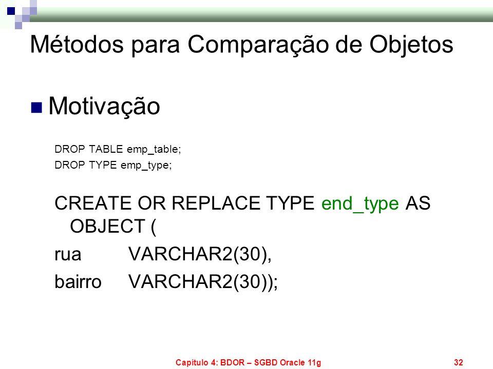 Capítulo 4: BDOR – SGBD Oracle 11g32 Métodos para Comparação de Objetos Motivação DROP TABLE emp_table; DROP TYPE emp_type; CREATE OR REPLACE TYPE end