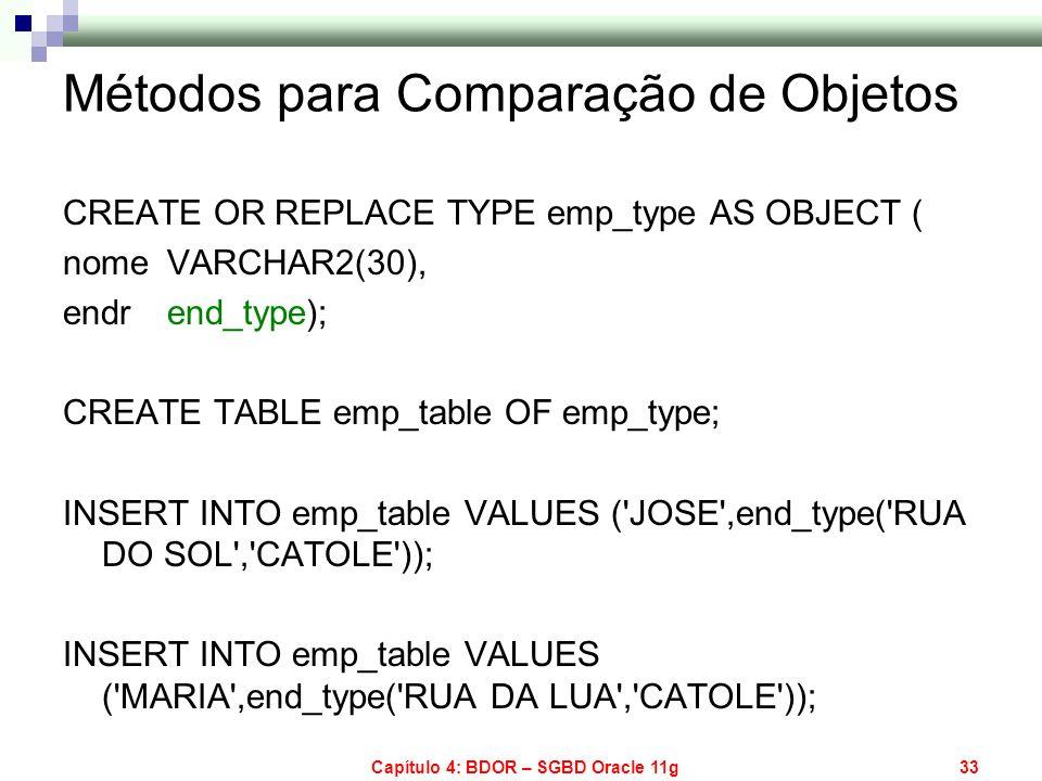 Capítulo 4: BDOR – SGBD Oracle 11g33 Métodos para Comparação de Objetos CREATE OR REPLACE TYPE emp_type AS OBJECT ( nome VARCHAR2(30), endr end_type);
