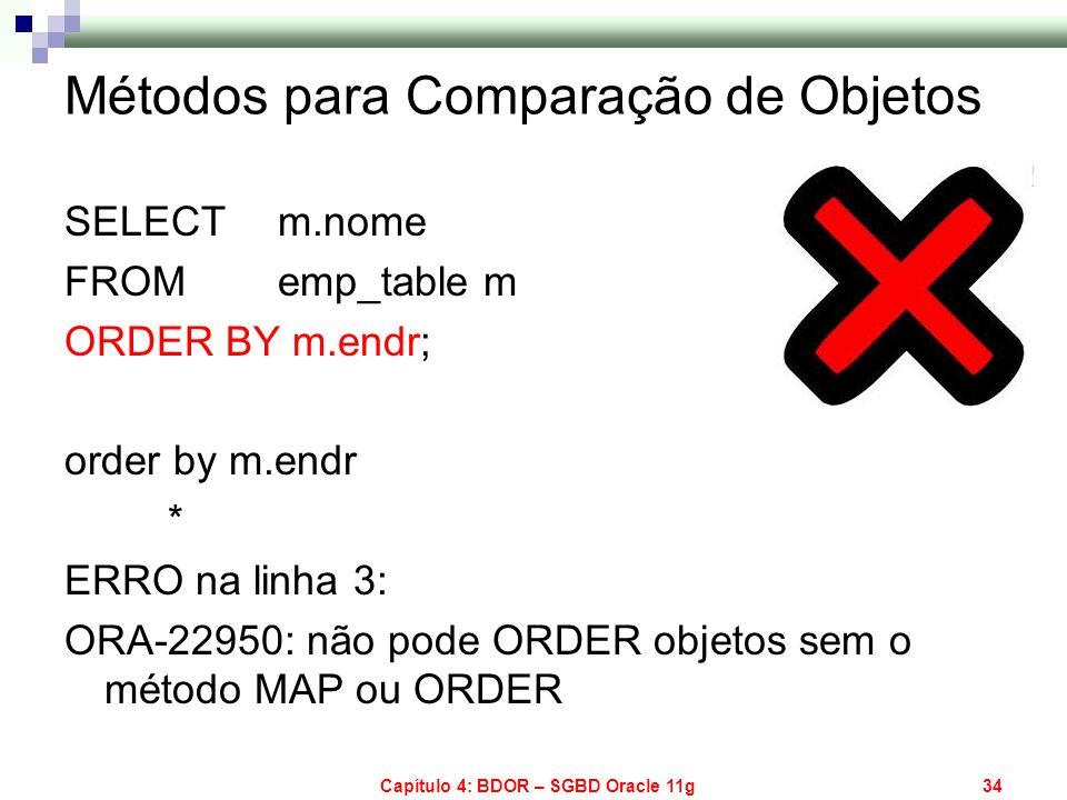 Capítulo 4: BDOR – SGBD Oracle 11g34 Métodos para Comparação de Objetos SELECT m.nome FROMemp_table m ORDER BY m.endr; order by m.endr * ERRO na linha