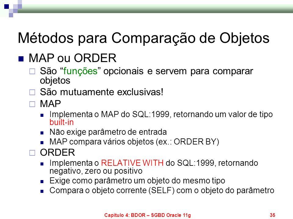 Capítulo 4: BDOR – SGBD Oracle 11g35 Métodos para Comparação de Objetos MAP ou ORDER São funções opcionais e servem para comparar objetos São mutuamen