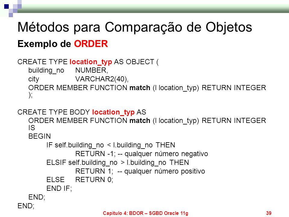 Capítulo 4: BDOR – SGBD Oracle 11g39 Métodos para Comparação de Objetos Exemplo de ORDER CREATE TYPE location_typ AS OBJECT ( building_no NUMBER, city
