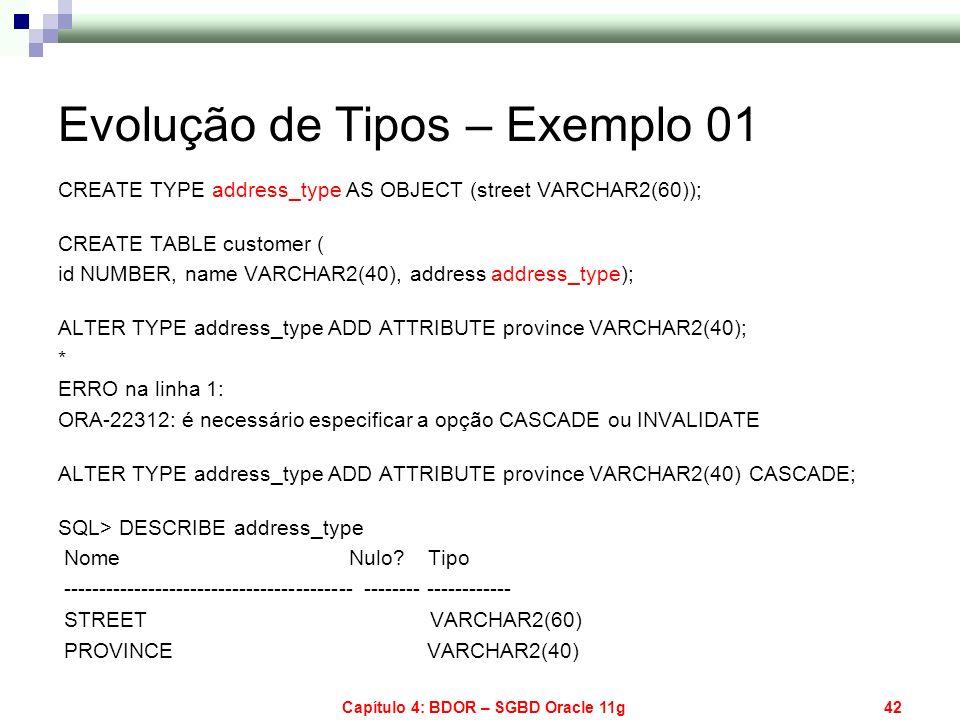 Capítulo 4: BDOR – SGBD Oracle 11g42 Evolução de Tipos – Exemplo 01 CREATE TYPE address_type AS OBJECT (street VARCHAR2(60)); CREATE TABLE customer (