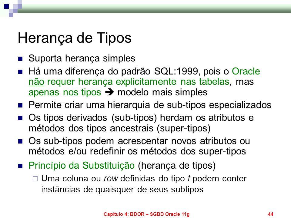 Capítulo 4: BDOR – SGBD Oracle 11g44 Herança de Tipos Suporta herança simples Há uma diferença do padrão SQL:1999, pois o Oracle não requer herança ex