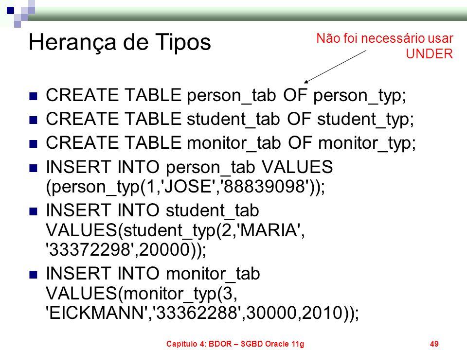 Capítulo 4: BDOR – SGBD Oracle 11g49 Herança de Tipos CREATE TABLE person_tab OF person_typ; CREATE TABLE student_tab OF student_typ; CREATE TABLE mon