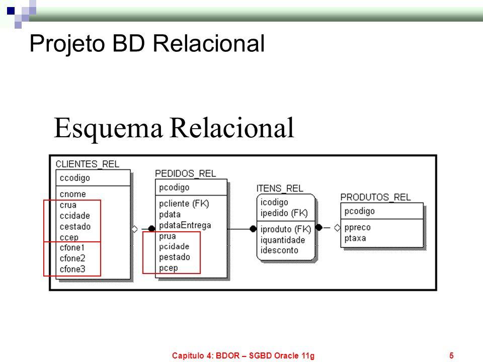 Capítulo 4: BDOR – SGBD Oracle 11g5 Esquema Relacional Projeto BD Relacional