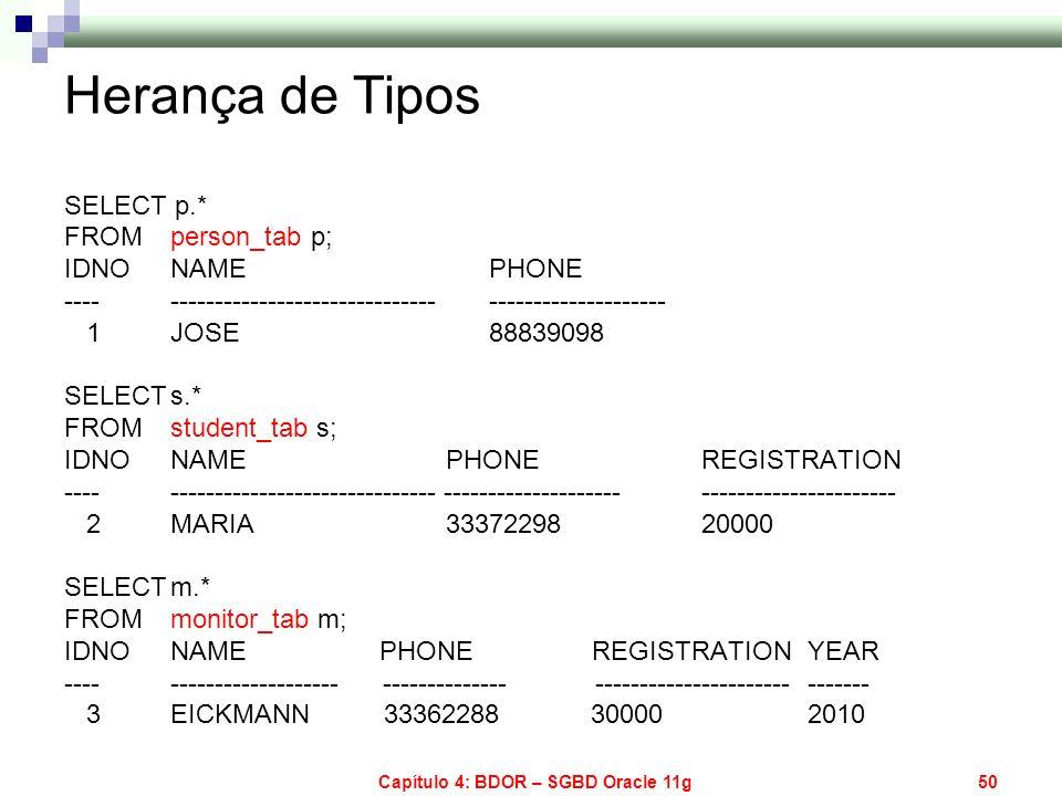 Capítulo 4: BDOR – SGBD Oracle 11g50 Herança de Tipos SELECT p.* FROMperson_tab p; IDNO NAME PHONE ---- ------------------------------ ---------------