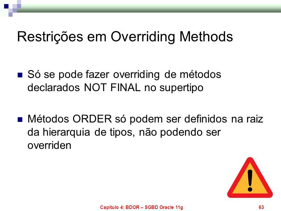 Capítulo 4: BDOR – SGBD Oracle 11g63 Restrições em Overriding Methods Só se pode fazer overriding de métodos declarados NOT FINAL no supertipo Métodos