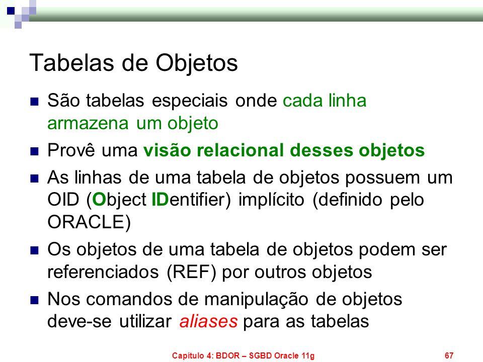 Capítulo 4: BDOR – SGBD Oracle 11g67 Tabelas de Objetos São tabelas especiais onde cada linha armazena um objeto Provê uma visão relacional desses obj