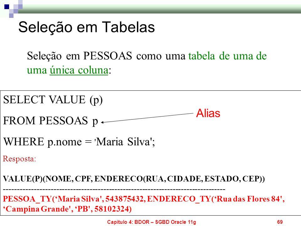 Capítulo 4: BDOR – SGBD Oracle 11g69 SELECT VALUE (p) FROM PESSOAS p WHERE p.nome = ' Maria Silva'; Resposta: VALUE(P)(NOME, CPF, ENDERECO(RUA, CIDADE