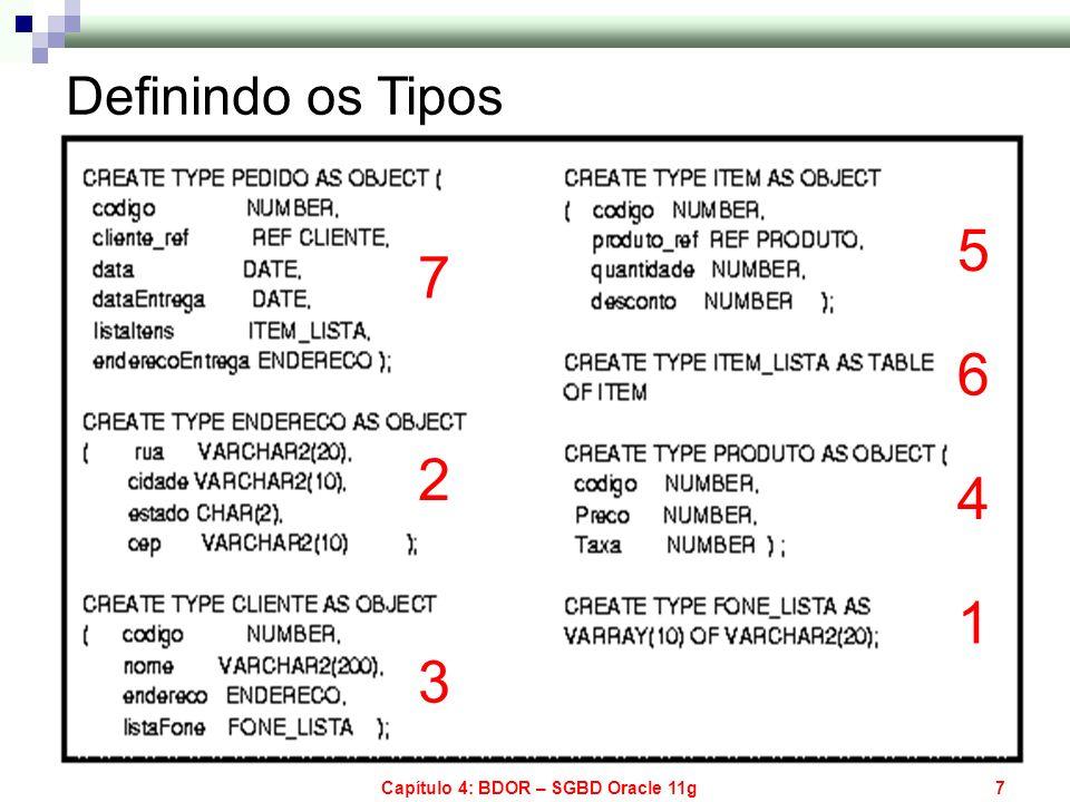 Capítulo 4: BDOR – SGBD Oracle 11g7 Definindo os Tipos 1 2 3 4 5 6 7
