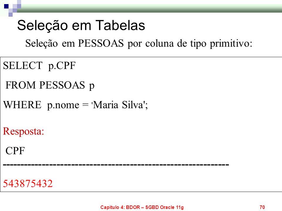 Capítulo 4: BDOR – SGBD Oracle 11g70 SELECT p.CPF FROM PESSOAS p WHERE p.nome = ' Maria Silva'; Resposta: CPF ----------------------------------------