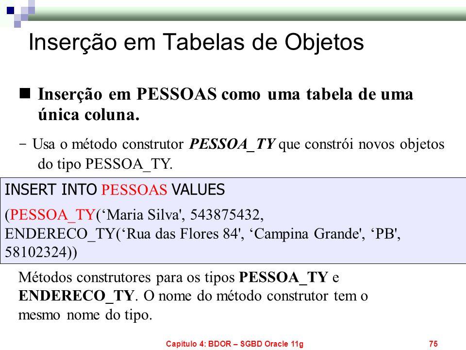 Capítulo 4: BDOR – SGBD Oracle 11g75 Inserção em PESSOAS como uma tabela de uma única coluna. - Usa o método construtor PESSOA_TY que constrói novos o
