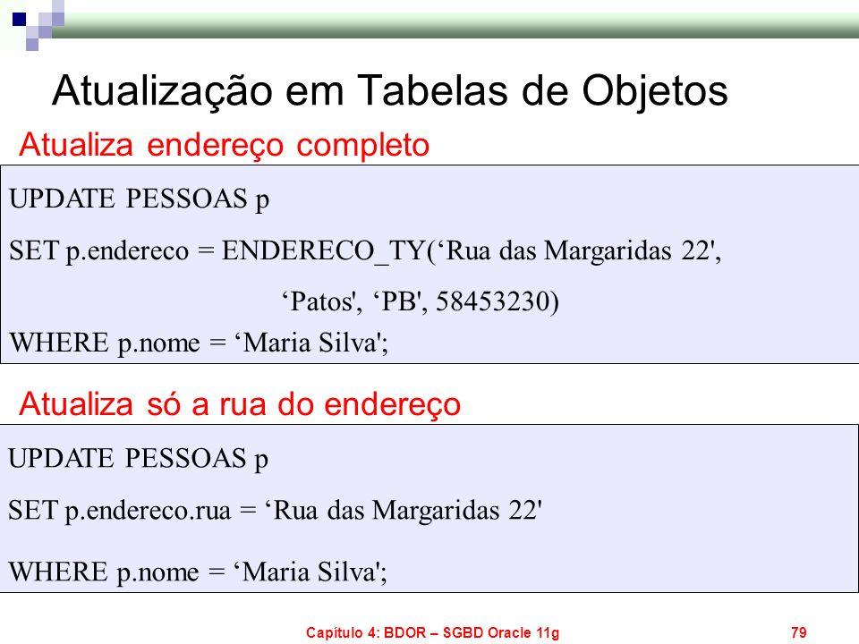 Capítulo 4: BDOR – SGBD Oracle 11g79 UPDATE PESSOAS p SET p.endereco = ENDERECO_TY(Rua das Margaridas 22', Patos', PB', 58453230) WHERE p.nome = Maria