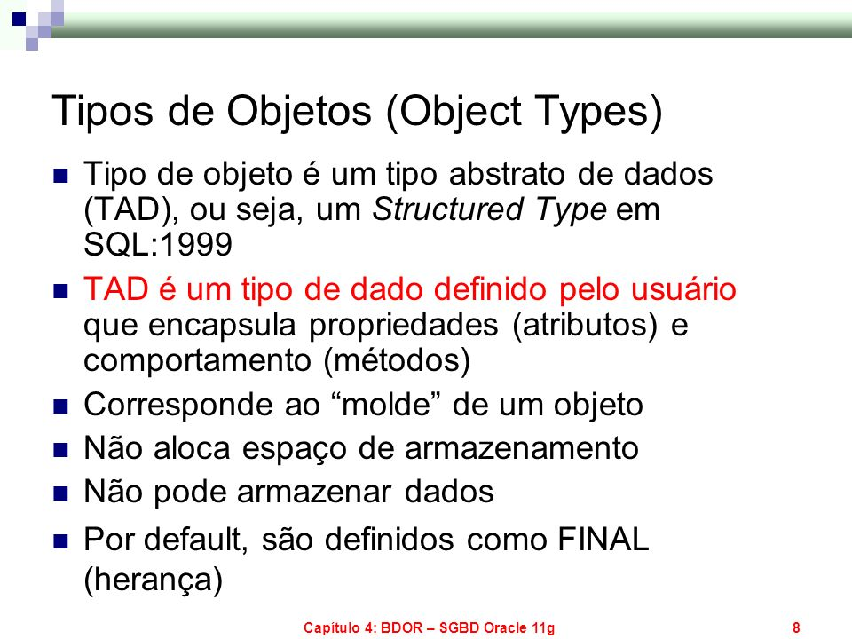 Capítulo 4: BDOR – SGBD Oracle 11g129 Consulta em Multi-Coleções Exemplo 2 SELECT l.location_id, l.city FROM region_tab r, TABLE(r.countries) c, TABLE(c.locations) l; LOCATION_ID CITY ---------------------------- 1000 Roma 1100 Venice 2900 Geneva 3000 Bern 2400 London 2500 Oxford 2600 Stretford