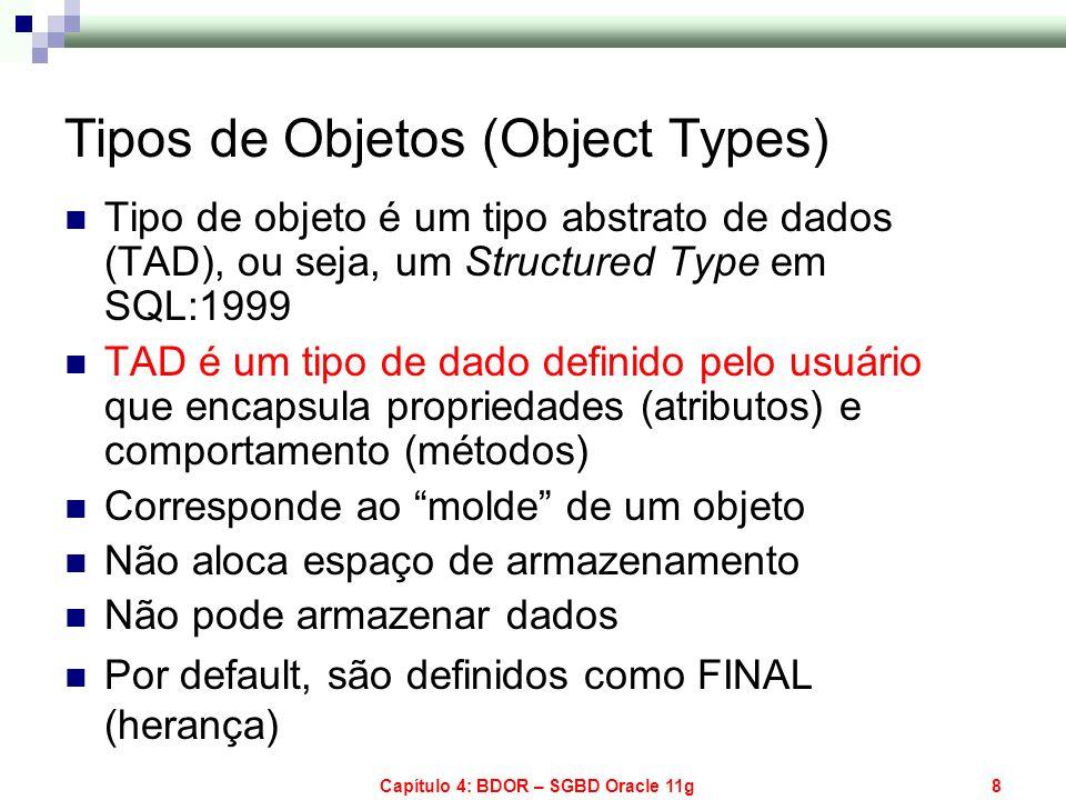 Capítulo 4: BDOR – SGBD Oracle 11g8 Tipos de Objetos (Object Types) Tipo de objeto é um tipo abstrato de dados (TAD), ou seja, um Structured Type em S