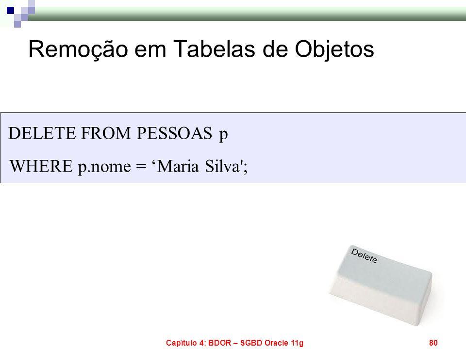Capítulo 4: BDOR – SGBD Oracle 11g80 Remoção em Tabelas de Objetos DELETE FROM PESSOAS p WHERE p.nome = Maria Silva';