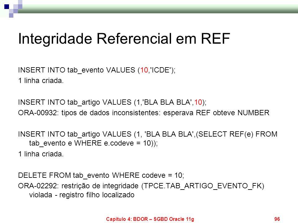 Capítulo 4: BDOR – SGBD Oracle 11g96 Integridade Referencial em REF INSERT INTO tab_evento VALUES (10,'ICDE'); 1 linha criada. INSERT INTO tab_artigo