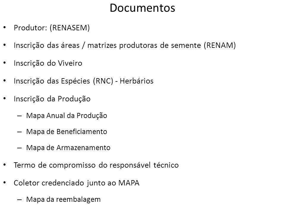 Documentos Produtor: (RENASEM) Inscrição das áreas / matrizes produtoras de semente (RENAM) Inscrição do Viveiro Inscrição das Espécies (RNC) - Herbár