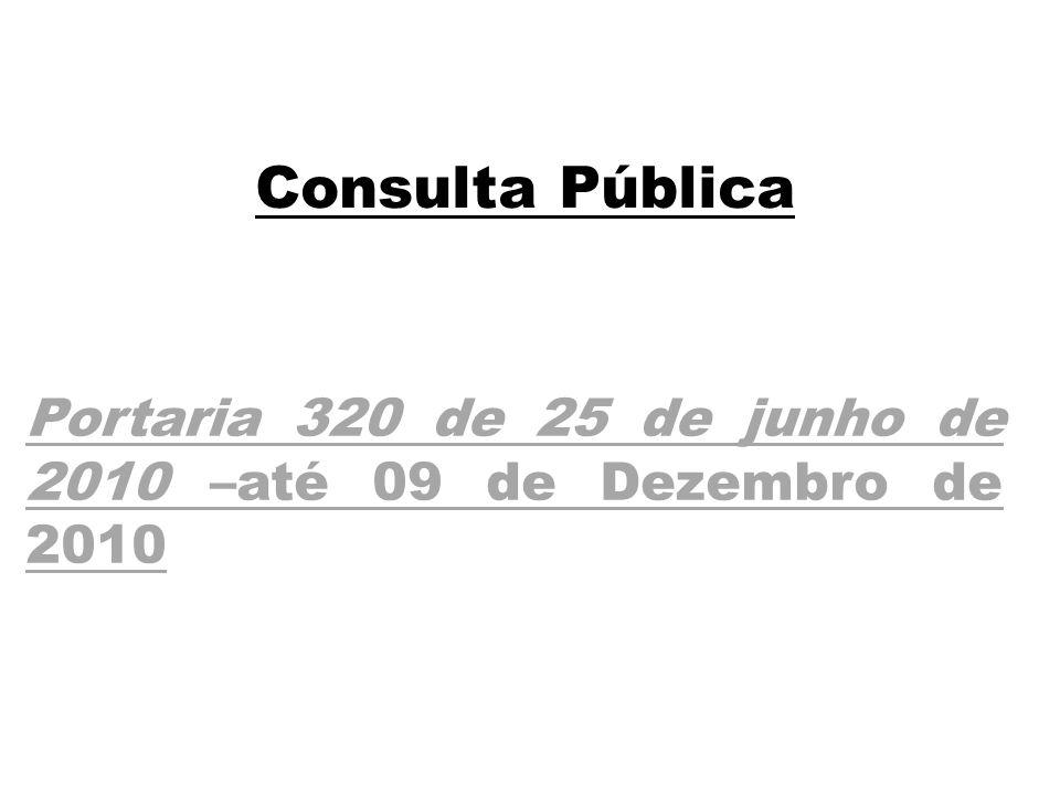Portaria 320 de 25 de junho de 2010 –até 09 de Dezembro de 2010 Consulta Pública
