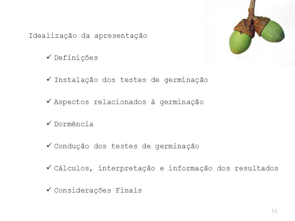 11 Idealização da apresentação Definições Instalação dos testes de germinação Aspectos relacionados à germinação Dormência Condução dos testes de germ