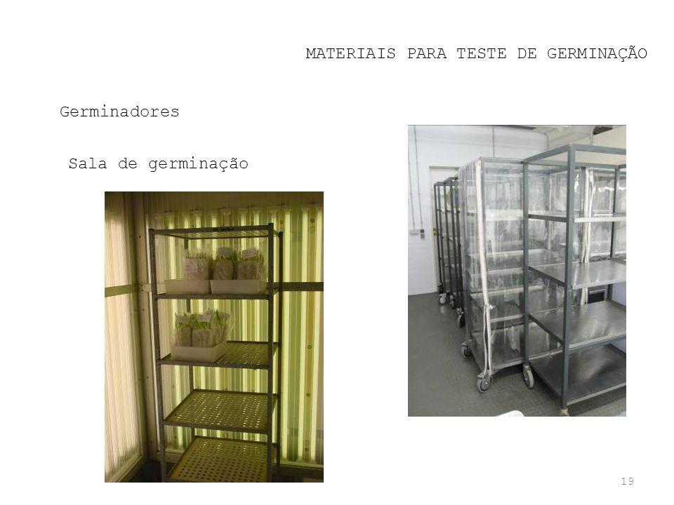 19 MATERIAIS PARA TESTE DE GERMINAÇÃO Germinadores Sala de germinação