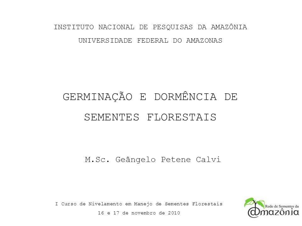 INSTITUTO NACIONAL DE PESQUISAS DA AMAZÔNIA UNIVERSIDADE FEDERAL DO AMAZONAS I Curso de Nivelamento em Manejo de Sementes Florestais 16 e 17 de novemb