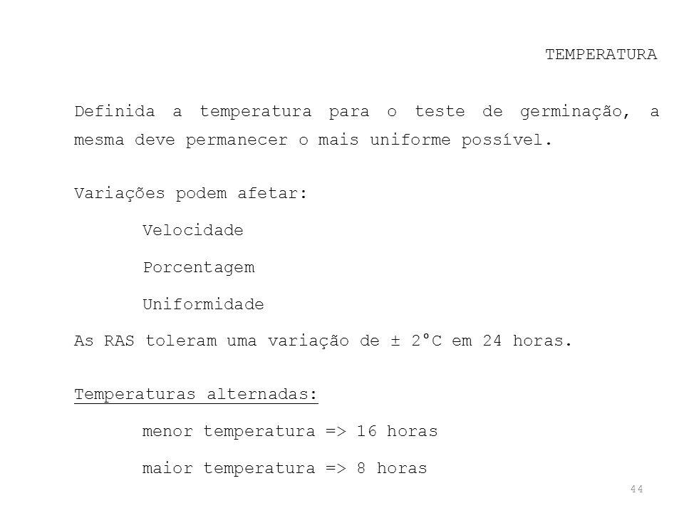 44 TEMPERATURA Definida a temperatura para o teste de germinação, a mesma deve permanecer o mais uniforme possível. Variações podem afetar: Velocidade
