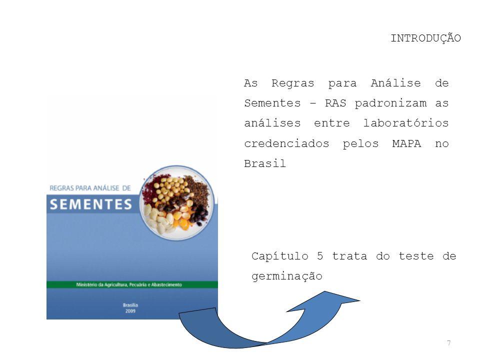 7 INTRODUÇÃO As Regras para Análise de Sementes – RAS padronizam as análises entre laboratórios credenciados pelos MAPA no Brasil Capítulo 5 trata do