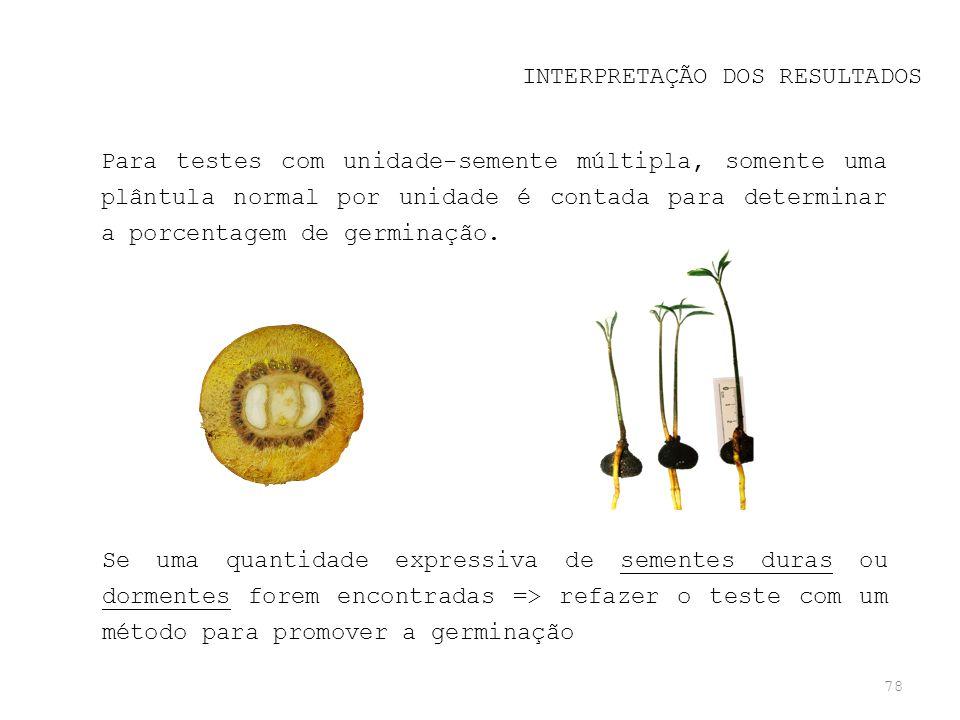 78 INTERPRETAÇÃO DOS RESULTADOS Para testes com unidade-semente múltipla, somente uma plântula normal por unidade é contada para determinar a porcenta