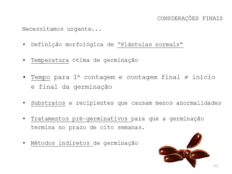 81 CONSDERAÇÕES FINAIS Necessitamos urgente... Definição morfológica de Plântulas normais Temperatura ótima de germinação Tempo para 1 a contagem e co
