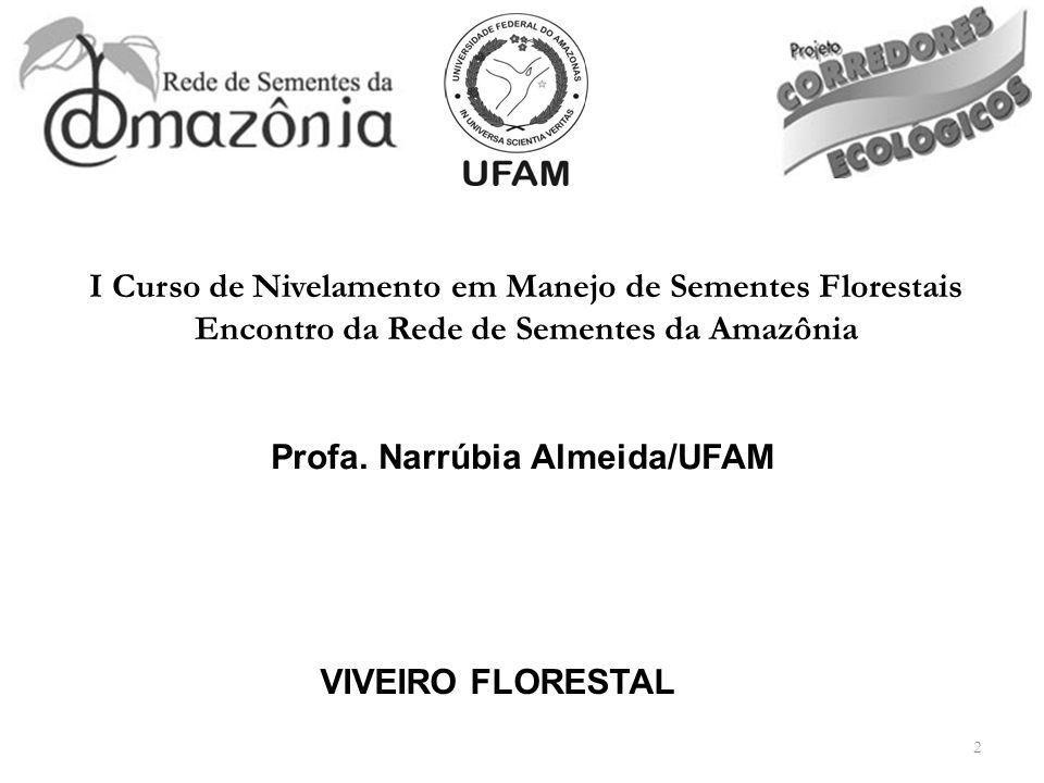 2 VIVEIRO FLORESTAL Profa. Narrúbia Almeida/UFAM I Curso de Nivelamento em Manejo de Sementes Florestais Encontro da Rede de Sementes da Amazônia