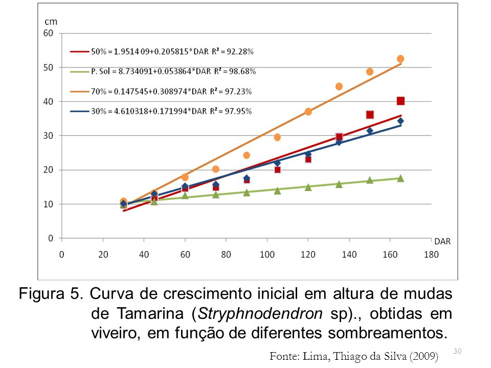 30 Figura 5. Curva de crescimento inicial em altura de mudas de Tamarina (Stryphnodendron sp)., obtidas em viveiro, em função de diferentes sombreamen