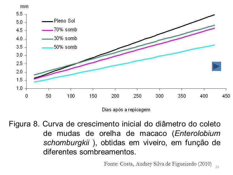 34 Figura 8. Curva de crescimento inicial do diâmetro do coleto de mudas de orelha de macaco (Enterolobium schomburgkii ), obtidas em viveiro, em funç