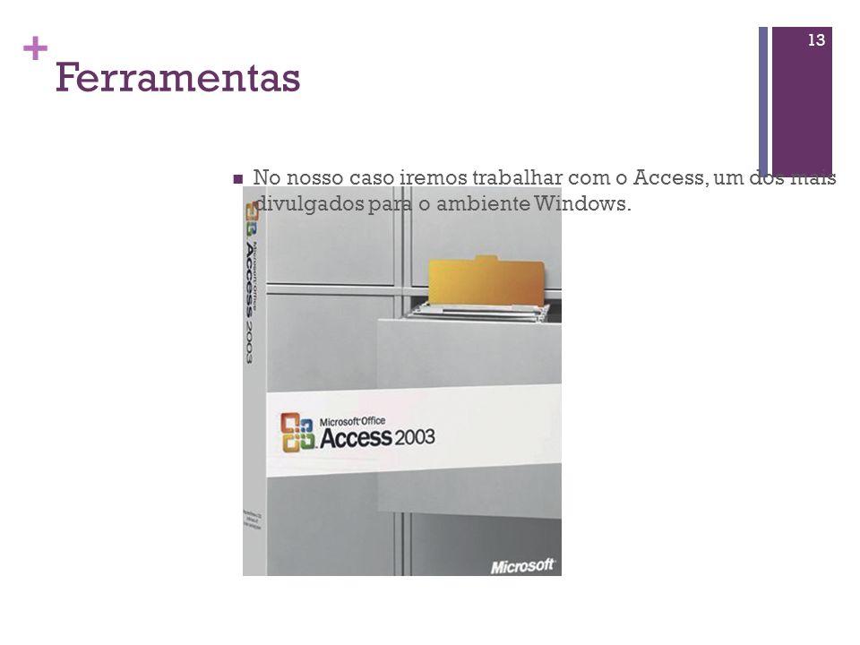+ Ferramentas 12 Existem no mercado muitas ferramentas para informatizar uma base de dados: Exemplos: ORACLE Microsoft SQL Server Ingres Informix DB2