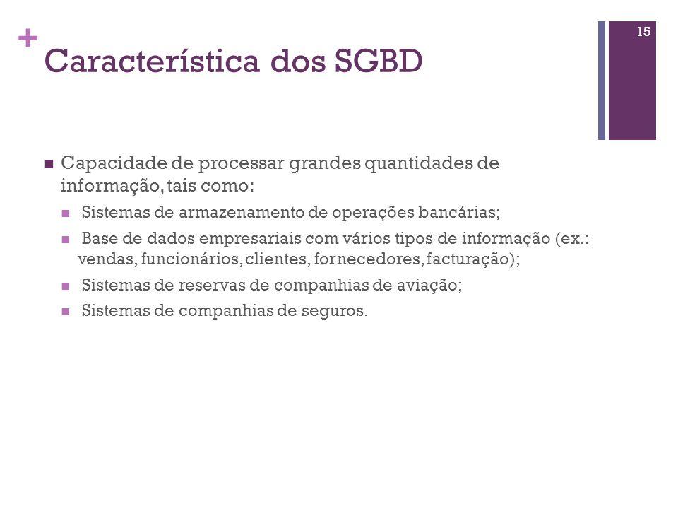 + Sistema de Gestão de Bases de Dados As ferramentas citadas anteriormente são exemplos de Sistemas de Gestão de Bases de Dados (SGBD). Os SGBD são so