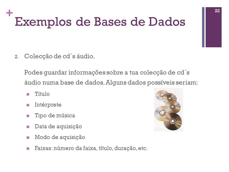 + Exemplos de Bases de Dados 1. Agenda de contactos: Tens com certeza uma agenda com os contactos dos teus amigos e, eventualmente, outras informações