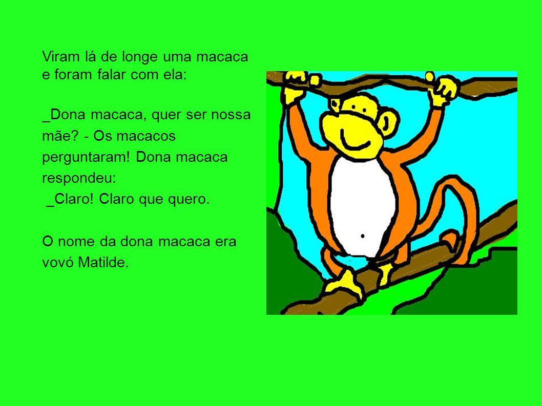 Viram lá de longe uma macaca e foram falar com ela: _Dona macaca, quer ser nossa mãe? - Os macacos perguntaram! Dona macaca respondeu: _Claro! Claro q